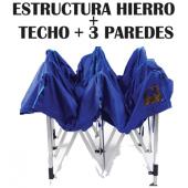 Carpa Plegable o Gazebo 3H - Estructura de Hierro Zincado+ Techo + 3 paredes